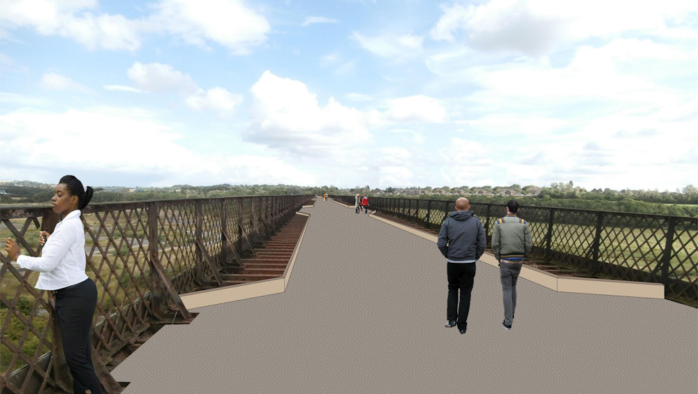 The image shows the deck of the viaduct which is made out of non slip marine plywood. It will enable people to walk or ride bikes across the structure